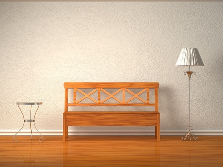 divan sofa: Wooden bench with table and standard lamp in white interior