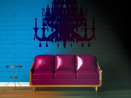 Purple couch, table, LCD tv  and standard lamp in  double colored minimalist interior photo