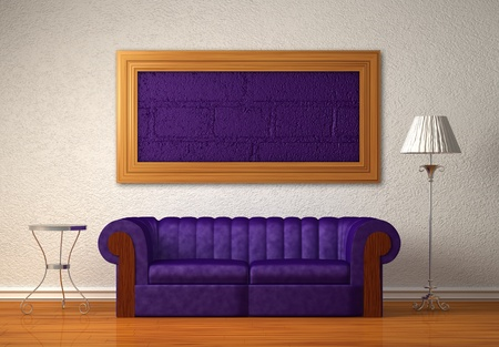 Purple couch with table and standard lamp in white interior  Stock Photo - 13139804