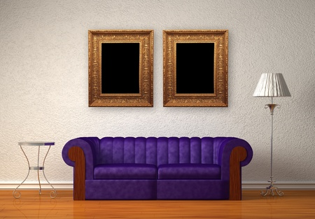 Purple couch with table and standard lamp in white interior Stock Photo - 13139796