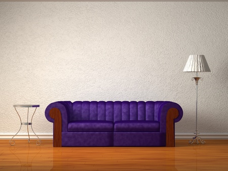 Purple couch with table and standard lamp in white interior