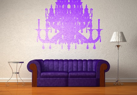 Purple couch with table and standard lamp in white interior Stock Photo - 13139840