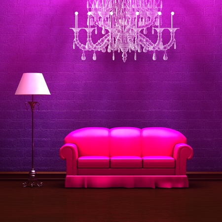 Pink couch and standard lamp with glass chandelier in purple minimalist interior photo