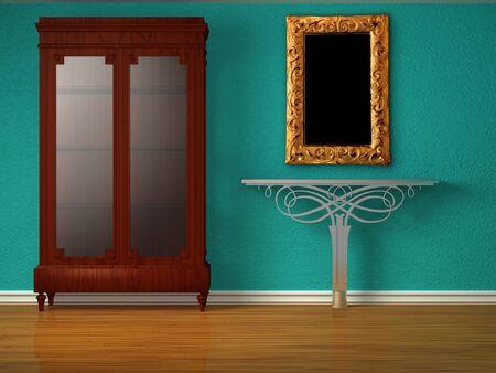 Schrank mit holztisch und silhouetten in minimalistische interieur
