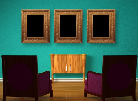 Two luxurious chairs with wooden console and picture frames in minimalist interior  photo