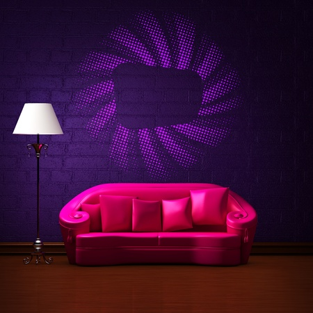 Pink couch with empty frame and standard lamp in dark purple minimalist interior photo