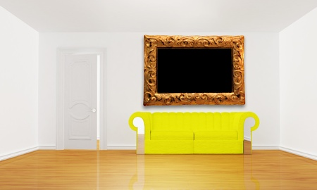 minimalist living room with yellow couch and picture frame  photo