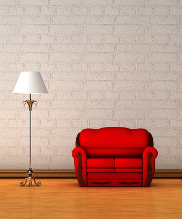 Red couch with standard lamp in minimalist interior  photo