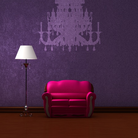 Pink couch and standard lamp in purple minimalist interior  photo
