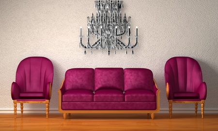 Two luxurious chairs with purple couch in minimalist interior  photo
