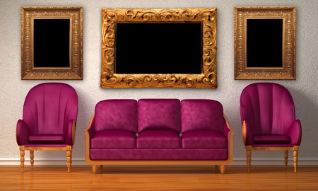 Two luxurious chairs with purple couch in minimalist interior  Stock Photo - 13172046
