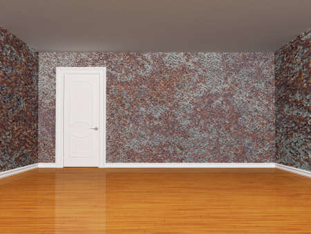 Rusty empty room with door photo