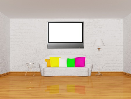 minimalist living room with white couch, table and standard lamp photo