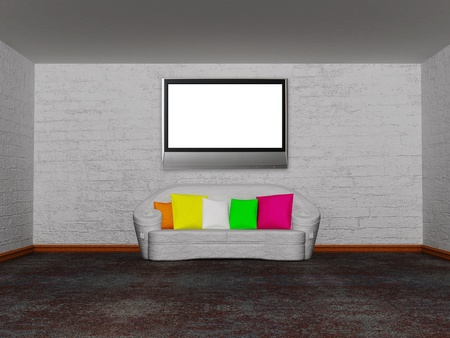 minimalist living room with white couch with colored cushion Stock Photo - 13172049