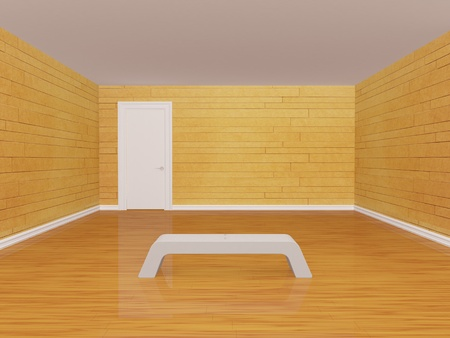 Empty gallery with bench and closed door photo