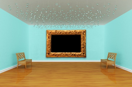 Empty gallery room with benches Stock Photo - 13171980