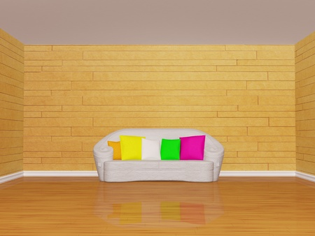 mosaic room interior with white couch with colored cushion photo