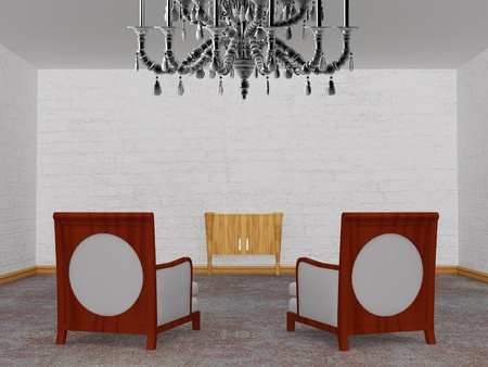Two luxurious chairs with wooden console in minimalist interior  photo