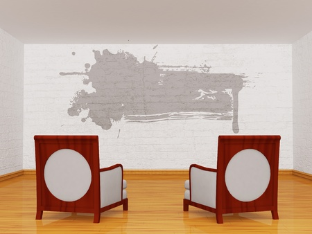 Two luxurious chairs in gallery photo