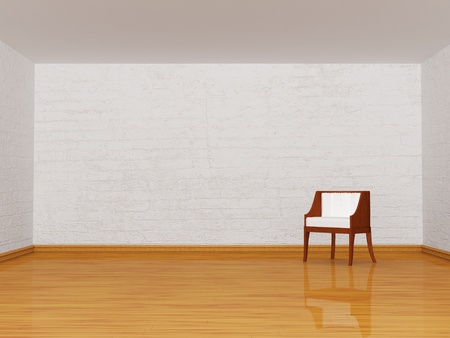 alone white chair in minimalist interior  photo