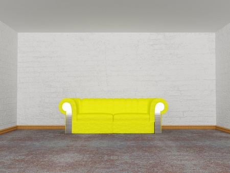 minimalist living room with yellow couch   photo