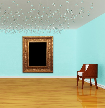 Chairs in luxurious empty gallery photo