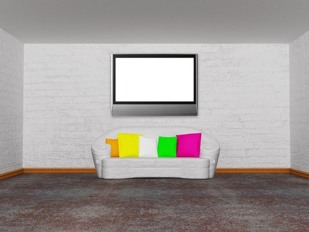 minimalist living room with white couch with colored cushion  Stock Photo - 13172047