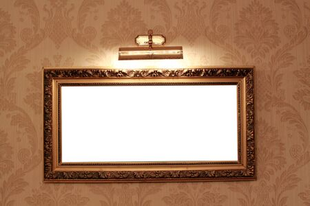 Frame on the floral wallpaper with booster light photo