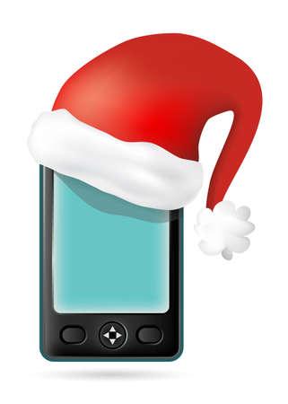 smartphone with Santa s hat photo
