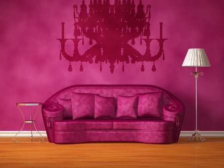Purple couch with table and standard lamp in purple interior Stock Photo - 13171953