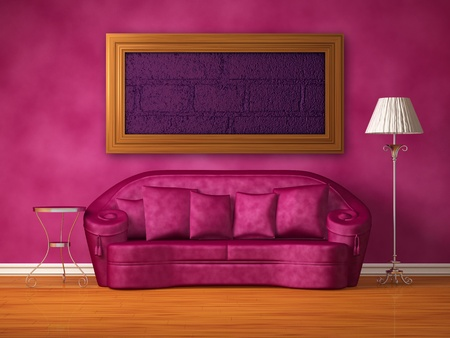 Purple couch with table and standard lamp in purple interior Stock Photo - 13172022