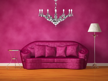 Purple couch with table and standard lamp in purple interior   photo