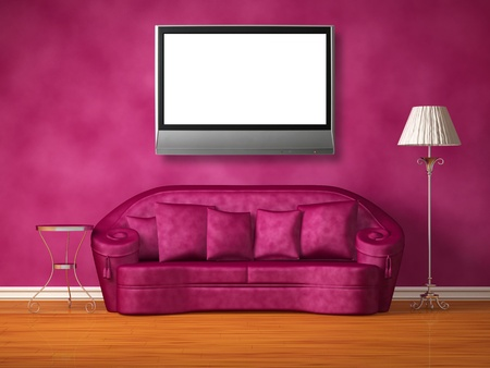 Purple couch with table and standard lamp in purple interior Stock Photo - 13171910