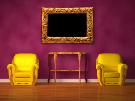 Two chairs with wooden console in purple inter  Stock Photo - 13171944