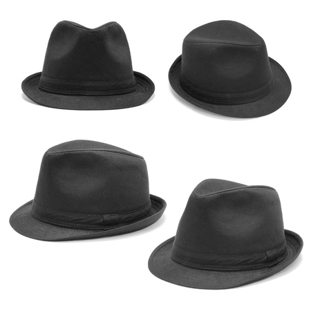 fedora hat: Set of black hats