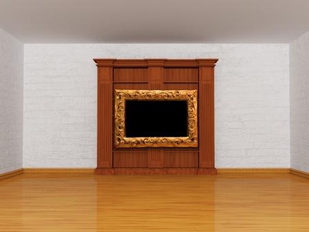Wooden empty bookshelf in minimalist interior photo