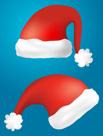 Stock Illustration  isolated santa claus hats illustration