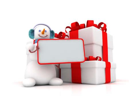 three gift boxes: mu�eco de nieve y tres cajas de regalo con cintas sobre fondo blanco