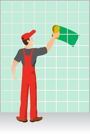 ceramic tiles: Worker washing a wall made of ceramic tiles Stock Photo