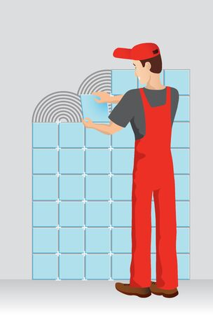 boiler suit: Worker in red boiler suit laying tiles