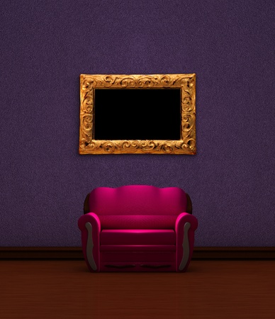Pink couch with golden picture frame in purple minimalist interior  photo