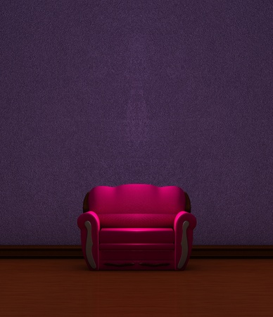 Pink couch  in purple minimalist interior  photo