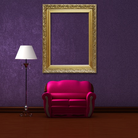 Pink couch and standard lamp  with golden picture frame in purple minimalist interior  photo