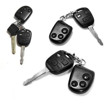 remotes: car keys with remotes on white background