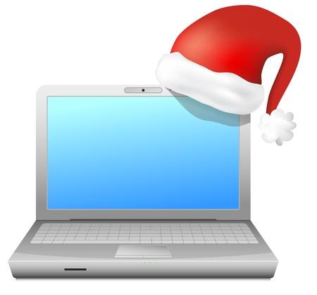 ecoration: Laptop with santa s hat Illustration