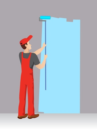 painter with a blue color  Vector