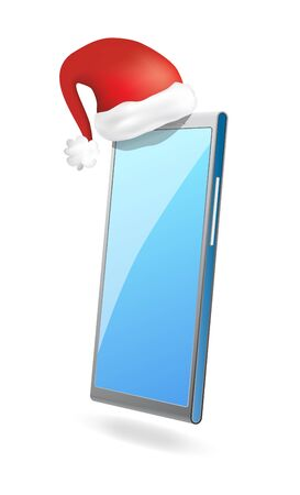 Modern vector smartphone with santa s hat Vector
