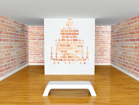 Gallery s hall with bench and silhouette of chandelier  Stock Photo - 13392649
