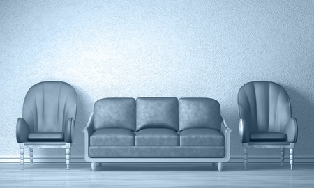 Two luxuus chairs with purple couch in minimalist inter  Stock Photo - 13354976