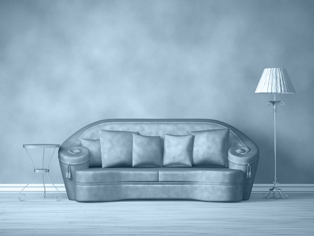 Purple couch with table and standard lamp in purple interior  Stock Photo - 13354801